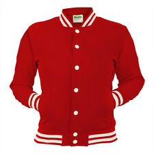 Red College Jacket Letterman Coat Baseball Top American Fashion Clothing Varsity