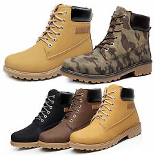 New Men Fall Winter Hight Boots Faux Suede Safety Ankle Combat Hiking Work Shoes