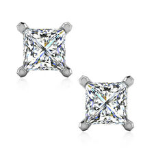 2.08 CTW Princess Cut Man Made Diamond Solitaire Earrings Solid 14K White Gold