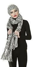 Ladies New Thermal Winter Chequered Knitted Scarf and Beanie Hat with Tassles