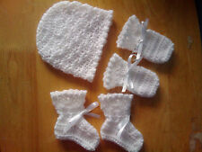 Handmade Crocheted Baby Unisex Hat, Mitts & Bootees various colours 100% Acrylic