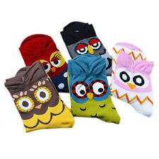 Fashion Women Korean Mid-Calf Socks Cartoon Soft Owl Print Cotton Socks Fancy