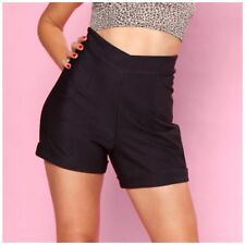 Black High Waist Hot Time Shorts 50s Rockabilly Bettie Page PinUp Plus Size 4-20