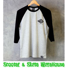 PENNY SKATEBOARDS 3/4 Length Hand Drawn T-Shirt Black/Grey S-M - FREE DELIVERY
