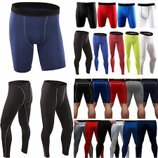 Mens Compression Shorts Long Pants Under Base Layer Armour Gym Leggings Running