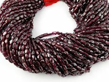 5 STRANDS AAA NATURAL GARNET GEMSTONE RECTANGLE FACETED RONDELLE BEADS 3x5-4x7MM
