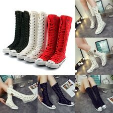Women Fashion Punk EMO Shoes Sneaker Lace Up Zip Boot Knee High Flat Tall Boot