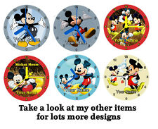Mickey Mouse Cd Clock, Personalised, Free Stand, Gift Box, Birthday, Xmas