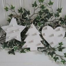 Shabby Rustic Country Chic CREAM Wood Bells CHRISTMAS TREE Shelf Decoration