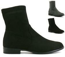 LADIES BLACK GREY SUEDE FLAT LOW HEEL CHELSEA ANKLE BOOTS SHOES