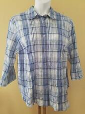 Alfred Dunner Woman Size 18W Blue / White / Tan Embroidered Plaid Casual Blouse