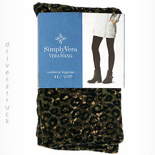 SIMPLY VERA WANG Small LEOPARD Print CORDUROY LEGGINGS with Rivets ANKLE LENGTH