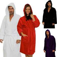 Velour Hooded Bathrobe Natural Cotton Terry Cloth Velour Robe Men's Women's Gift