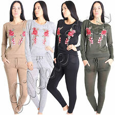 Womens Embroidered Rose Ladies Jersey 2 Pcs Loungewear Co Ord Tracksuit Set 8-14