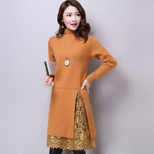 Flounced Women Korean V-Neck Fashion Autumn Knit Sweater Two Pieces Dress Set