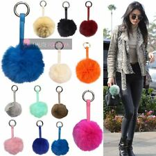 NEW BAG CHARM KEYRING SMALL REAL FUR BALL POMPOM GOLDEN RING CLASP