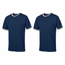 New 2-pc Champion T1396 6,1 oz Heavyweight Tagless Ringer Shirt Navy/Oxford M
