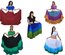 Women's Tribal Dip Dye 25 Yard Skirt Belly Dance Kuchi 100% Cotton
