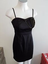 NEW Ladies Black Dress with Rose zip feature  -  Ajoy - Size 8 & 8-10