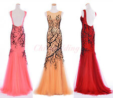 Slimming Mermaid Party Prom Evening Dress Sleeveless Formal Women Dress w/ Train