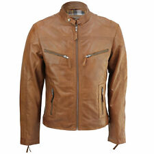 New Mens Real Leather Biker Jacket Vintage Rust Brown Fitted Retro Smart Casual