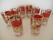 8 Gold & Red Vintage Highball Glass Drink Recipe, Mid Century Modern Bar Mad Men
