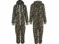 KIDS ARMY CAMO PRINT ONESIE HOODED JUMPSUIT ALL IN ONE BOYS GIRLS FLEECE 7-13