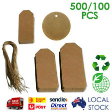 100 & 500 Pcs BROWN KRAFT RECTANGLE & ROUND SHARP STRING TWINES GIFT PAPER TAGS