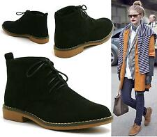 WOMENS BLACK DESERT LACE UP PIXIE FAUX SUEDE CASUAL FASHION ANKLE BOOTS SHOES SI