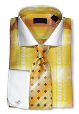 Dress Shirt by Steven Land Spread Collar Rounded French Cuff-Yellow-DW1643-YE