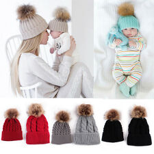 Mother&Me Knitted Wool Hat Baby Kids Winter Warm Cap Pompom Bobble Beanie Hats