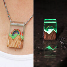 Rainbow Glow Pendant/Necklace - Wood/Resin, Glows in the Dark!