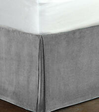"""New Queen Size 15""""Drop 100% Cotton Velvet Bedskirt/Valance Box Pleated - Silver"""