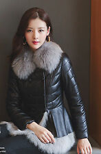 New Down Clothing Sheep Genuine Leather Fox Collar Jacket Coat Overcoat Garment