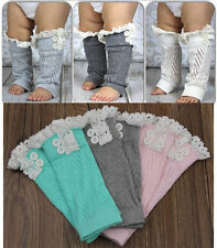 New Flower Girls Baby Kids Knitted Lace Boot Cuffs Leg Warmer Footless Socks g8