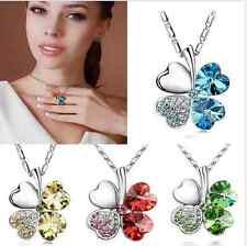 Four Leaf Clover Crystal Rhinestone Pendant Necklace Sweet Unique Peach Heart