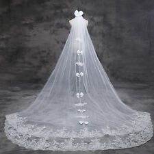 White/Ivory Custom 4M 5M 6M Tulle Cathedral Wedding Veil Lace With Comb