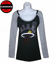 Nba Womens Apparel - Miami Heat Adidas Ladies Nba V-Neck LS Team Tee Shirt, NWT