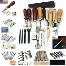 Leather Craft Punch Tools Kit Stitching Carving Working Sewing Saddle Groover US