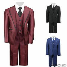 Kids Page Boy 3 Piece Suit Outfits Black Blue Wine Wedding Party Age 2 - 12 Year