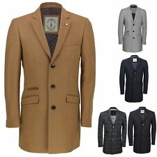 New Mens Vintage Wool 3/4 Long Camel, Grey Over Coat Tweed Crombie Winter Jacket