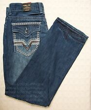 NWT Mens HELIX Denim Jeans STRAIGHT 100% Cotton Med Blue Embroidered 32 34 36 38