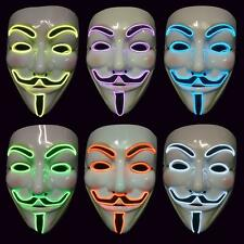 LED V For Vendetta Movie Costume Guy Fawkes Anonymous Halloween Cosplay Mask NEW