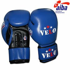 VELO AIBA Leather Boxing Gloves Competition MMA Muay Thai Training Equipment