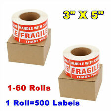 3x5 Large Fragile Stickers Handle with Care Mailing Label 500/Roll Free Shipping
