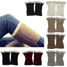 Trendy Crochet Knit Lace Trim Leg Warmers Cuffs Toppers Boot Socks Choose Colors