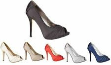 Ladies Womens Diamante Evening Peep Toe Sandals Wedding Prom Party Shoes Size
