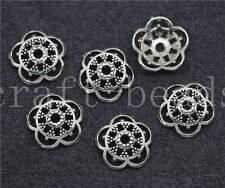 100/500pcs Antique Silver Flower Bead Caps Charms Beads Cap Craft DIY 12mm
