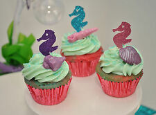 12 Seahorse Glitter Cupcake Toppers Mermaid Ariel Under The Sea Birthday Party