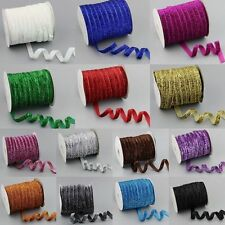 "5/30/200Yards 3/8 "" Sparkle Glitter Velvet Ribbon Headband Clips Bow Decoration"